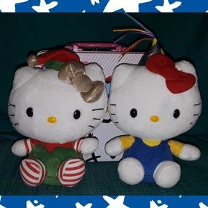 Pair of Hello kitty TY holiday plushies